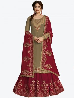 Dark Beige Pure Georgette Jari And Resham Embroidered Designer Suit with Dupatta small FABSL20451