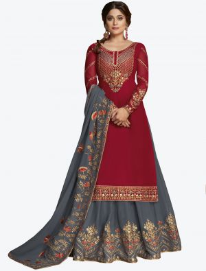 Dark Red Pure Georgette Jari And Resham Embroidered Designer Suit with Dupatta small FABSL20449