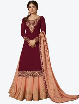 Maroon Pure Georgette Jari And Resham Embroidered Designer Suit with Dupatta small FABSL20447