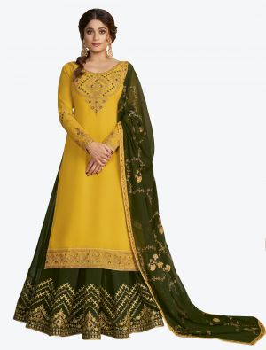 Mustard Yellow Pure Georgette Jari And Resham Embroidered Designer Suit with Dupatta small FABSL20448