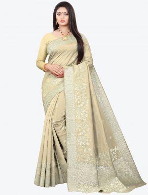 Beige Woven Soft Art Silk Designer Saree small FABSA21024
