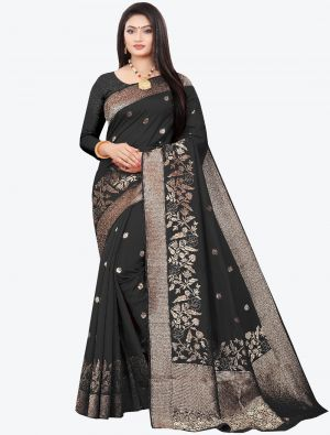 Black Woven Soft Art Silk Designer Saree small FABSA21020