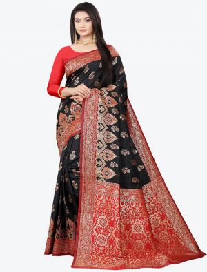 Jet Black Woven Soft Litchi Silk Designer Saree small FABSA21025