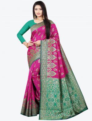 Magenta Woven Soft Litchi Silk Designer Saree small FABSA21029
