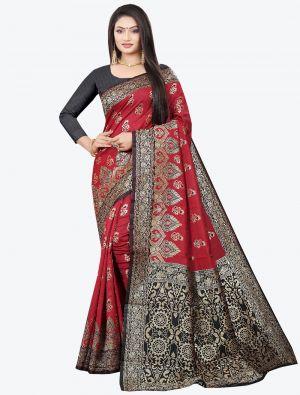 Maroon Woven Soft Litchi Silk Designer Saree small FABSA21026