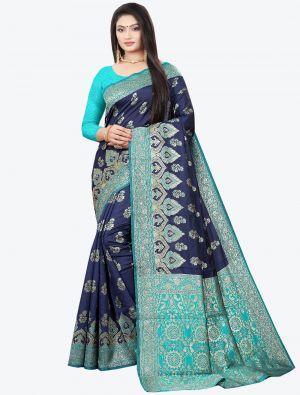 Navy Blue Woven Soft Litchi Silk Designer Saree small FABSA21027