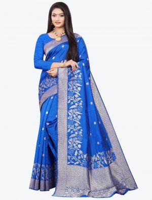 Ocean Blue Woven Soft Art Silk Designer Saree small FABSA21022