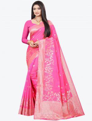 Pink Woven Soft Art Silk Designer Saree small FABSA21023