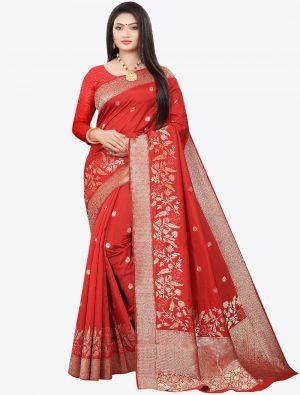 Red Woven Soft Art Silk Designer Saree small FABSA21019