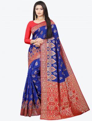Royal Blue Woven Soft Litchi Silk Designer Saree small FABSA21028