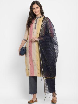 beige pure cotton kurti with pant and dupatta fabku20387