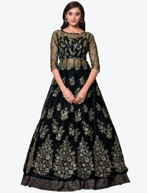 Black Net Indo Western Anarkali Suit with Dupatta small FABSL20494