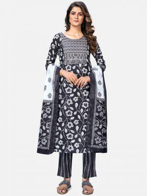 black pure cotton kurti with pant and dupatta fabku20391