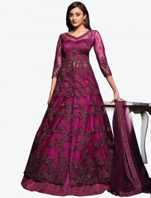 Burgundy Net Indo Western Anarkali Suit with Dupatta small FABSL20497