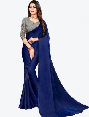 Dark Blue Sequins Work Chiffon Designer Saree small FABSA21069