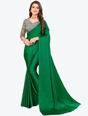Green Sequins Work Chiffon Designer Saree small FABSA21067