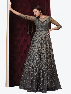 Grey Net Indo Western Anarkali Suit with Dupatta small FABSL20495