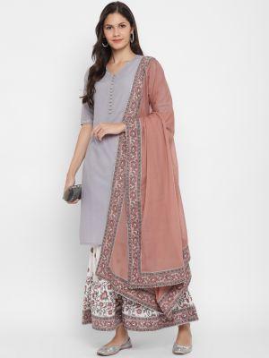 grey pure cotton kurti with palazzo and dupatta fabku20384