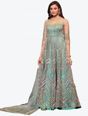 Ice Blue Net Indo Western Anarkali Suit with Dupatta small FABSL20498