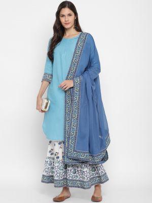light blue pure cotton kurti with palazzo and dupatta fabku20386