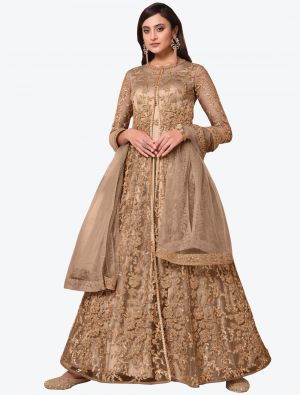Light Brown Net Indo Western Anarkali Suit with Dupatta small FABSL20496