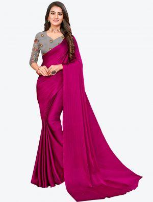Magenta Sequins Work Chiffon Designer Saree small FABSA21074