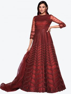 Maroon Net Indo Western Anarkali Suit with Dupatta small FABSL20492