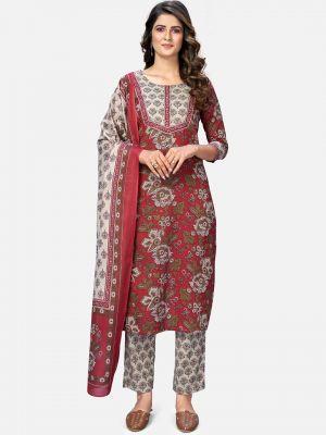 maroon pure cotton kurti with pant and dupatta fabku20390