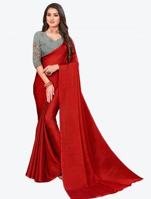 Maroon Sequins Work Chiffon Designer Saree small FABSA21072