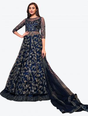 Navy Blue Net Indo Western Anarkali Suit with Dupatta small FABSL20499