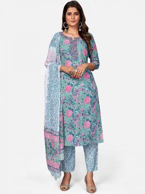 pastel blue pure cotton kurti with pant and dupatta fabku20389