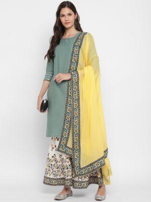 pastel green pure cotton kurti with palazzo and dupatta fabku20385