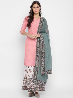 pink pure cotton kurti with palazzo and dupatta fabku20383