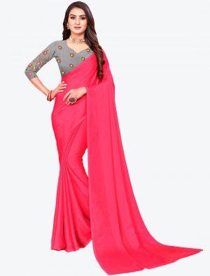 Pink Sequins Work Chiffon Designer Saree small FABSA21065