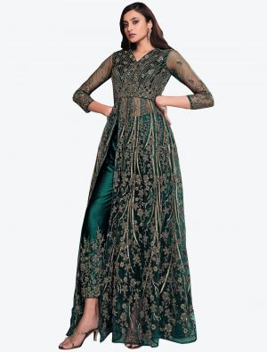 Rama Net Indo Western Anarkali Suit with Dupatta small FABSL20491