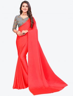 Reddish Orange Sequins Work Chiffon Designer Saree small FABSA21076