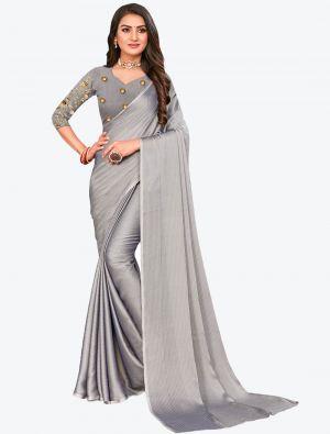 Silver Sequins Work Chiffon Designer Saree small FABSA21073