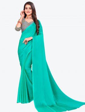 Turquoise Sequins Work Chiffon Designer Saree small FABSA21070