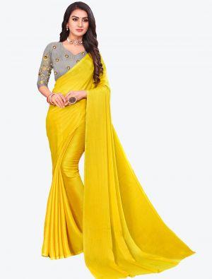 Yellow Sequins Work Chiffon Designer Saree small FABSA21075