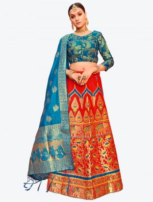 Bright Red Banarasi Silk A Line Lehenga with Dupatta small FABLE20127