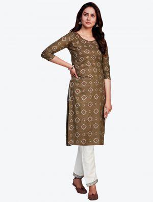 brown fine rayon bandhej printed kurti with pant fabku20418