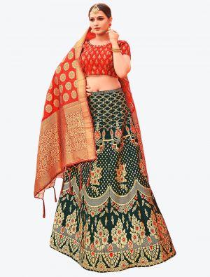 Dark Green Banarasi Silk A Line Lehenga with Dupatta small FABLE20125