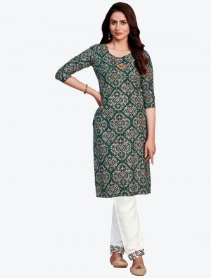 dark green fine rayon bandhej printed kurti with pant fabku20413