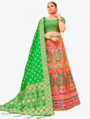 Dark Peach Banarasi Silk A Line Lehenga with Dupatta small FABLE20120