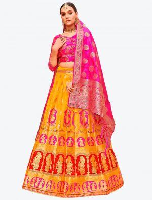 Deep Yellow Banarasi Silk A Line Lehenga with Dupatta small FABLE20116