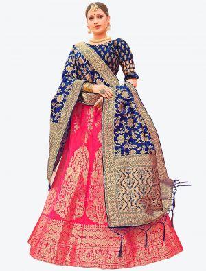 Hot Pink Banarasi Silk A Line Lehenga with Dupatta small FABLE20124