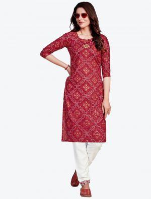 maroon fine rayon bandhej printed kurti with pant fabku20412