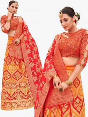 Mustard Yellow Banarasi Silk A Line Lehenga with Dupatta small FABLE20119