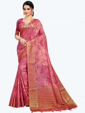 Onion Pink Woven Digital Printed South Cotton Designer Saree small FABSA21125
