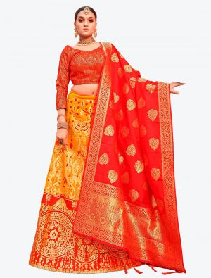 Orangish Yellow Banarasi Silk A Line Lehenga with Dupatta small FABLE20117
